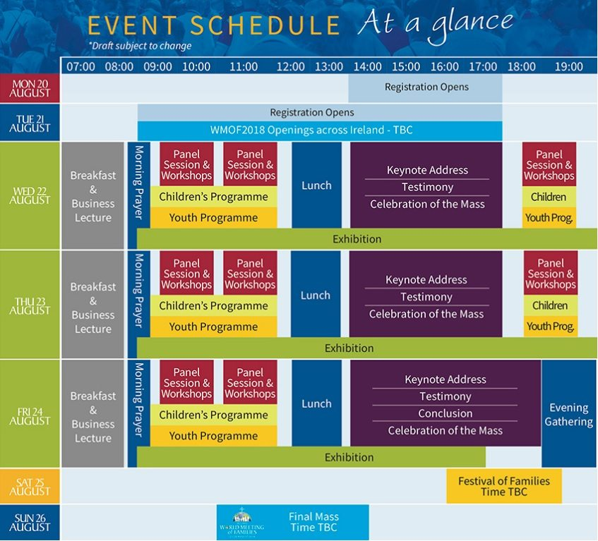 World Meeting of Families, Ireland 2018, Schedule