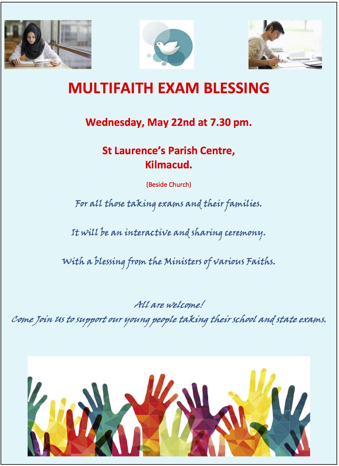 Interfaith Blessing for Exams @ St Laurence Parish Centre | Dublin | County Dublin | Ireland
