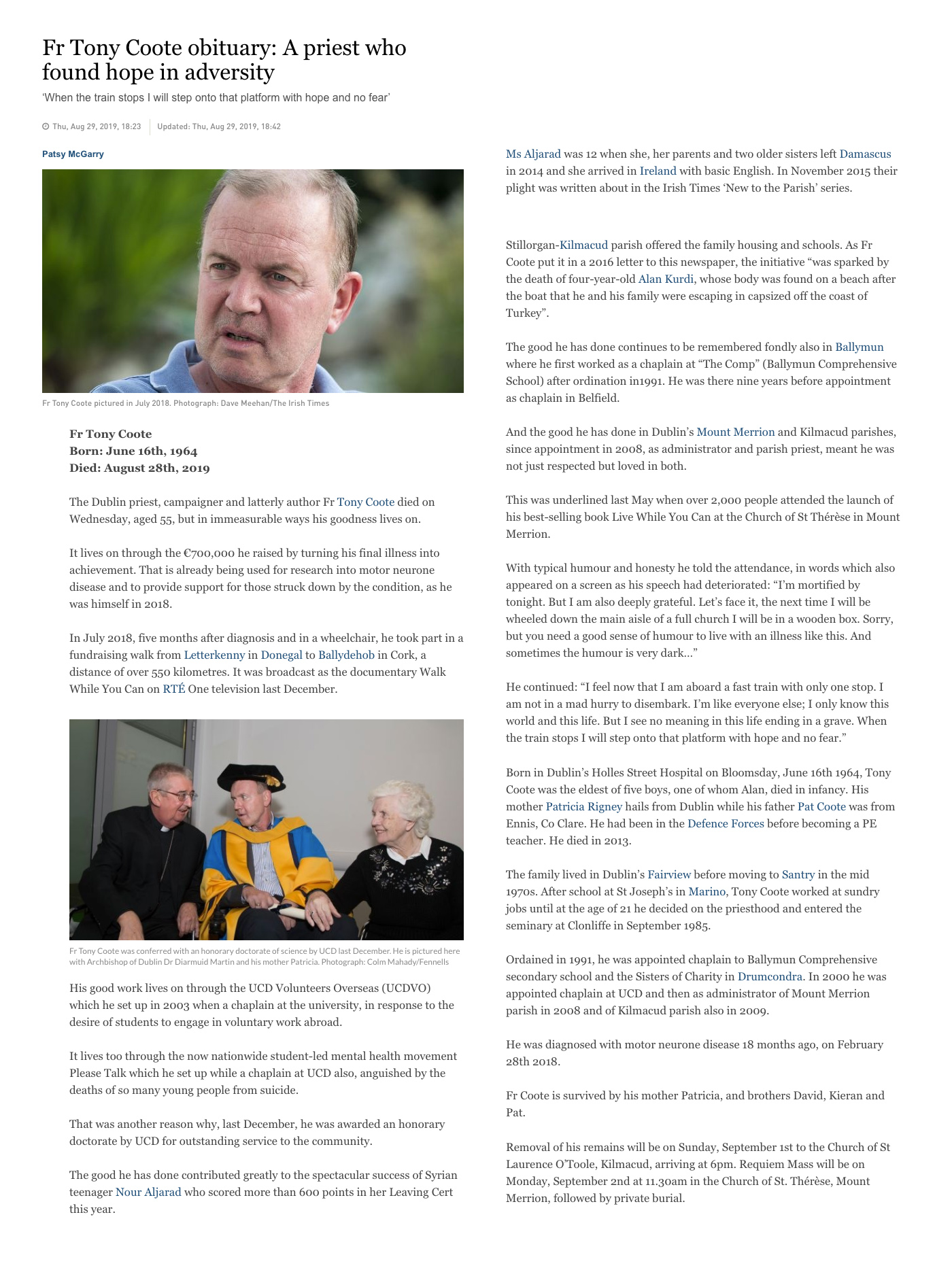 Full Article: https://www.irishtimes.com/news/social-affairs/religion-and-beliefs/fr-tony-coote-obituary-a-priest-who-found-hope-in-adversity-1.4001608