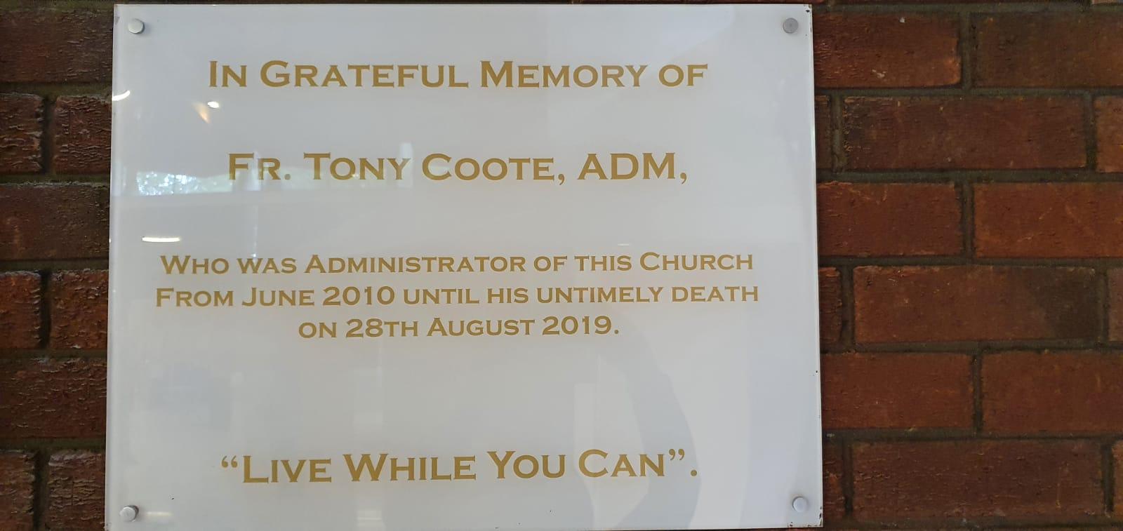 Plaque for Fr. Tony